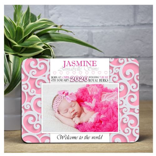 Personalised 'Welcome to the world' New Baby Girl Wood Photo Panel Print F44